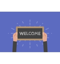 Hand holding sign welcome vector