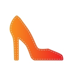 Woman shoe sign orange applique isolated vector
