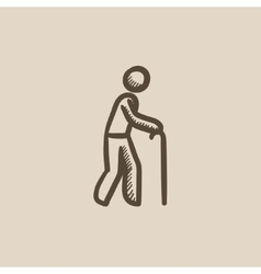 Man with cane sketch icon vector