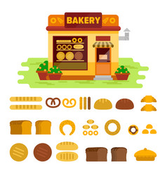 Bakery shop on the street with bread icon set vector