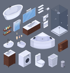 Bathroom elements isometric collection vector