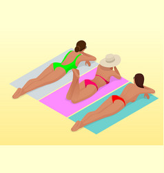 beautiful young slim woman sunbathe on the beach vector image