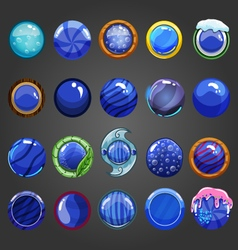 Big set of round blue button vector image vector image
