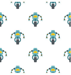Blue cyborg on wheel pattern seamless vector
