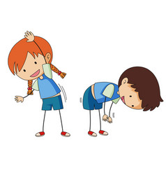 Boy and girl stretching vector