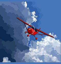 Cartoon red little plane flies on the border vector