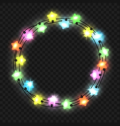Christmas star light garland on transparent vector