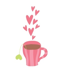 cute cartoon cup of coffee with hearts vector image