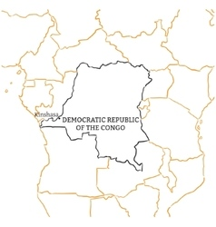Democratic republic of the congo sketch map vector