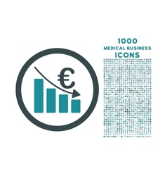Euro recession rounded icon with 1000 bonus icons vector