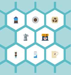 Flat icons moka pot paper box coffeemaker and vector