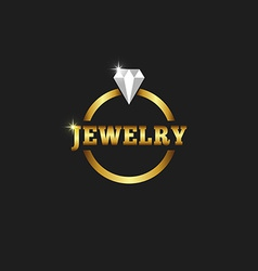 Gold ring with diamond jewelry logo on the black vector