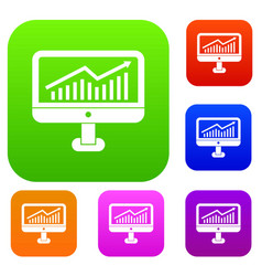 Growth graph on the computer monitor set vector