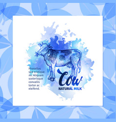 Hand drawn sketch cow natural cow background vector