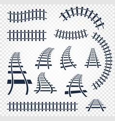 isolated curvy and straight rails set railway top vector image vector image