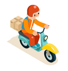 isometric 3d delivery courier scooter symbol box vector image vector image
