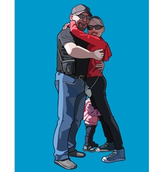 Man and a woman with a child hugging vector