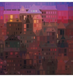 Night city background vintage houses vector