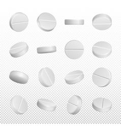 Realistic medical pills isolated on white vector image