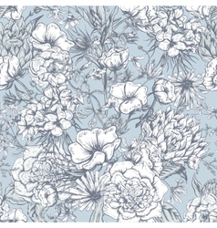 Retro Summer Seamless Monochrome Floral Pattern vector image