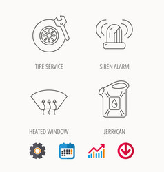 Siren alarm tire service and jerrycan icons vector