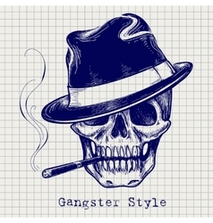 Sketch of gangster skull vector image vector image