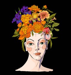 Spring woman with flowers her hair vector