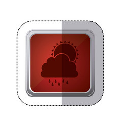Sticker red square button with silhouette cloud vector