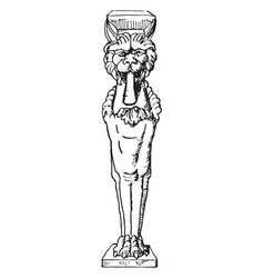 Table leg have lion face in front in design vector