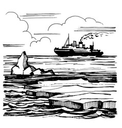 The icebreaker sails on the horizon vector