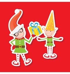The playful santa elves vector