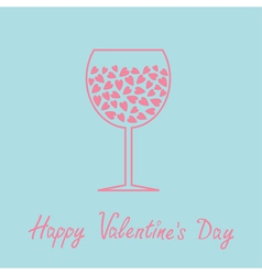 Wine glass with hearts inside Love card in flat vector image