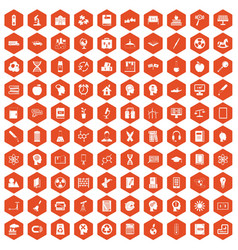 100 education icons hexagon orange vector