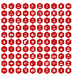 100 human resources icons hexagon red vector