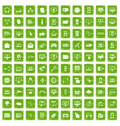 100 internet icons set grunge green vector image