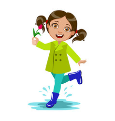 girl with the flower kid in autumn clothes in vector image