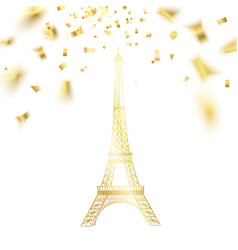 Confetti with eiffel tower vector