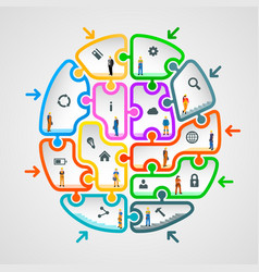 brain of puzzles with workers vector image