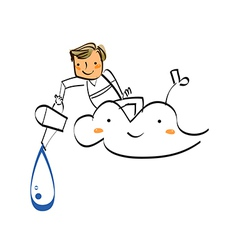 Close-up of boy sitting on cloud vector image