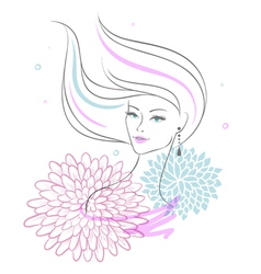 Woman back floral vector