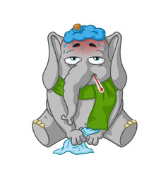 elephant character sick cartoon vector image