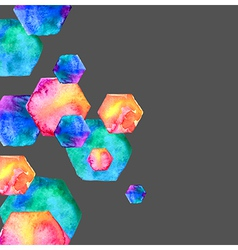 Watercolor bright hexagon vector