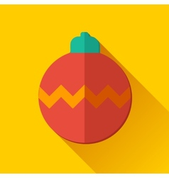 Simple Christmas ball icon in flat style vector image