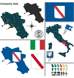 Map of campania vector
