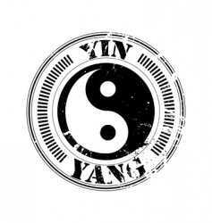 yin and yang stamp vector image