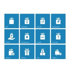 Collection of present boxes on blue background vector