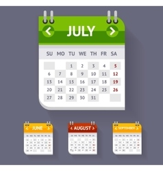 Calendar Set Flat Design vector image