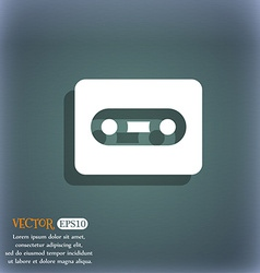 Cassette icon symbol on the blue-green abstract vector