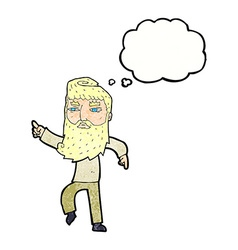 Cartoon bearded man pointing the way with thought vector