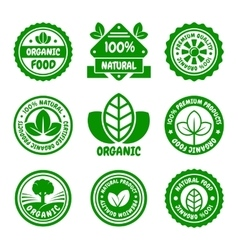 Organic food green labels set vector